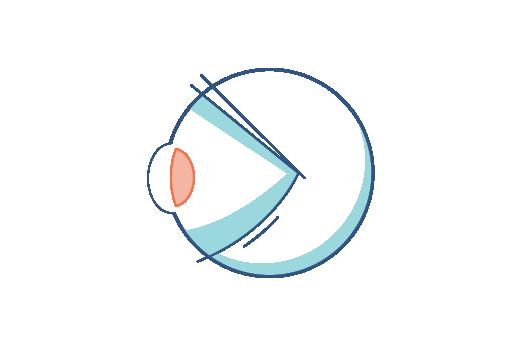 Icono de ojo inflexible.