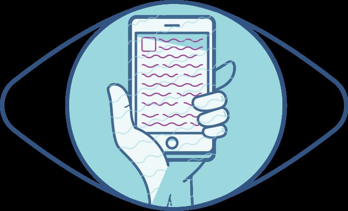Ilustración de un ojo y acercamiento de un teléfono