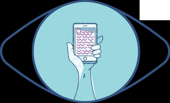 Ilustración de un ojo y un teléfono lejos